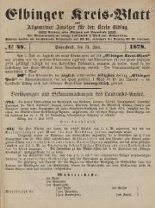 Kreis-Blatt des Königlich Preußischen Landraths-Amtes zu Elbing, Nr. 48 Sonnabend 15 Juni 1878