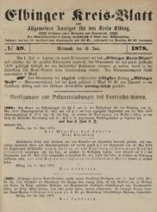 Kreis-Blatt des Königlich Preußischen Landraths-Amtes zu Elbing, Nr. 49 Mittwoch 19 Juni 1878
