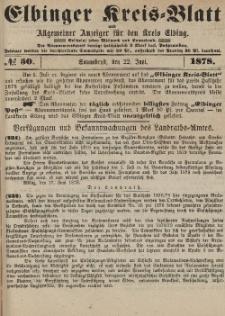 Kreis-Blatt des Königlich Preußischen Landraths-Amtes zu Elbing, Nr. 50 Sonnabend 22 Juni 1878