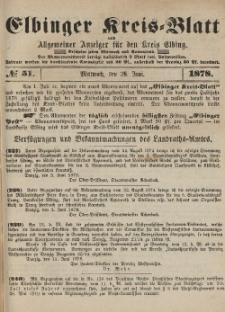 Kreis-Blatt des Königlich Preußischen Landraths-Amtes zu Elbing, Nr. 51 Mittwoch 26 Juni 1878