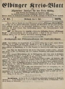 Kreis-Blatt des Königlich Preußischen Landraths-Amtes zu Elbing, Nr. 53 Mittwoch 3 Juli 1878