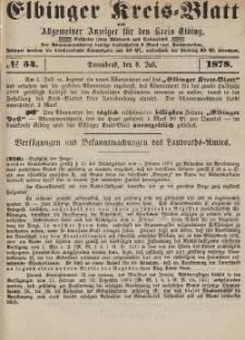 Kreis-Blatt des Königlich Preußischen Landraths-Amtes zu Elbing, Nr. 54 Sonnabend 6 Juli 1878