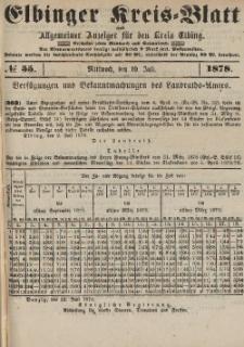 Kreis-Blatt des Königlich Preußischen Landraths-Amtes zu Elbing, Nr. 55 Mittwoch 10 Juli 1878