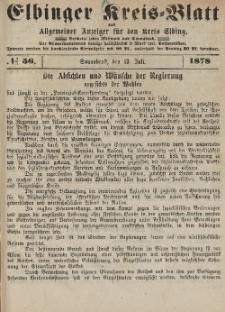 Kreis-Blatt des Königlich Preußischen Landraths-Amtes zu Elbing, Nr. 56 Sonnabend 13 Juli 1878