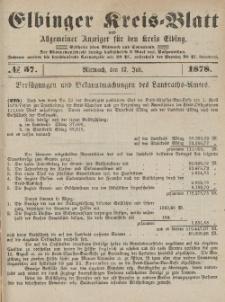 Kreis-Blatt des Königlich Preußischen Landraths-Amtes zu Elbing, Nr. 57 Mittwoch 17 Juli 1878