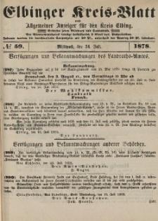 Kreis-Blatt des Königlich Preußischen Landraths-Amtes zu Elbing, Nr. 59 Mittwoch 24 Juli 1878