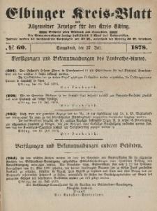Kreis-Blatt des Königlich Preußischen Landraths-Amtes zu Elbing, Nr. 60 Sonnabend 27 Juli 1878