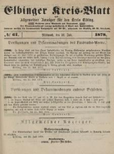 Kreis-Blatt des Königlich Preußischen Landraths-Amtes zu Elbing, Nr. 61 Mittwoch 31 Juli 1878