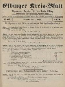 Kreis-Blatt des Königlich Preußischen Landraths-Amtes zu Elbing, Nr. 63 Mittwoch 7 August 1878