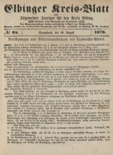 Kreis-Blatt des Königlich Preußischen Landraths-Amtes zu Elbing, Nr. 64 Sonnabend 10 August 1878