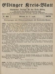 Kreis-Blatt des Königlich Preußischen Landraths-Amtes zu Elbing, Nr. 65 Mittwoch 14 August 1878