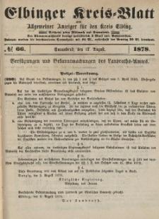 Kreis-Blatt des Königlich Preußischen Landraths-Amtes zu Elbing, Nr. 66 Sonnabend 17 August 1878
