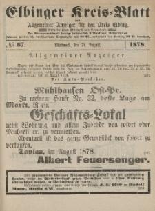 Kreis-Blatt des Königlich Preußischen Landraths-Amtes zu Elbing, Nr. 67 Mittwoch 21 August 1878