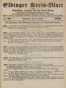 Kreis-Blatt des Königlich Preußischen Landraths-Amtes zu Elbing, Nr. 68 Sonnabend 24 August 1878