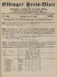 Kreis-Blatt des Königlich Preußischen Landraths-Amtes zu Elbing, Nr. 69 Mittwoch 28 August 1878