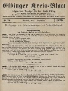 Kreis-Blatt des Königlich Preußischen Landraths-Amtes zu Elbing, Nr. 71 Mittwoch 4 September 1878