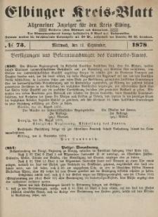 Kreis-Blatt des Königlich Preußischen Landraths-Amtes zu Elbing, Nr. 73 Mittwoch 11 September 1878