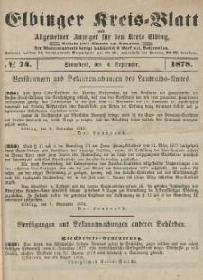 Kreis-Blatt des Königlich Preußischen Landraths-Amtes zu Elbing, Nr. 74 Sonnabend 14 September 1878