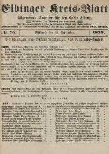 Kreis-Blatt des Königlich Preußischen Landraths-Amtes zu Elbing, Nr. 75 Mittwoch 18 September 1878