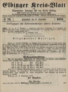 Kreis-Blatt des Königlich Preußischen Landraths-Amtes zu Elbing, Nr. 76 Sonnabend 21 September 1878