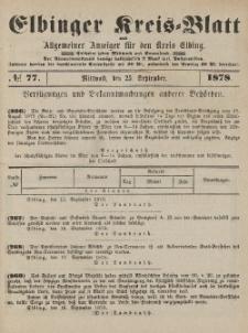 Kreis-Blatt des Königlich Preußischen Landraths-Amtes zu Elbing, Nr. 77 Mittwoch 25 September 1878