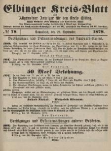 Kreis-Blatt des Königlich Preußischen Landraths-Amtes zu Elbing, Nr. 78 Sonnabend 28 September 1878