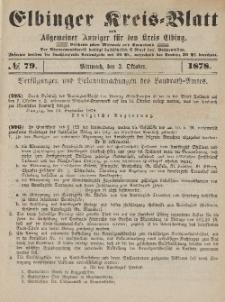 Kreis-Blatt des Königlich Preußischen Landraths-Amtes zu Elbing, Nr. 79 Mittwoch 2 Oktober 1878