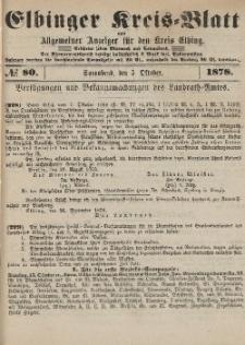 Kreis-Blatt des Königlich Preußischen Landraths-Amtes zu Elbing, Nr. 80 Sonnabend 5 Oktober 1878
