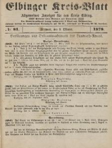 Kreis-Blatt des Königlich Preußischen Landraths-Amtes zu Elbing, Nr. 81 Mittwoch 9 Oktober 1878