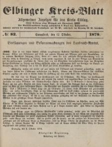 Kreis-Blatt des Königlich Preußischen Landraths-Amtes zu Elbing, Nr. 82 Sonnabend 12 Oktober 1878