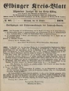 Kreis-Blatt des Königlich Preußischen Landraths-Amtes zu Elbing, Nr. 83 Mittwoch 16 Oktober 1878
