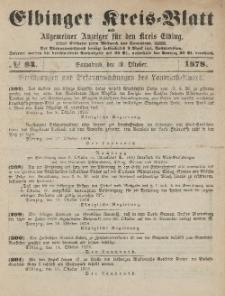 Kreis-Blatt des Königlich Preußischen Landraths-Amtes zu Elbing, Nr. 84 Sonnabend 19 Oktober 1878