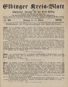 Kreis-Blatt des Königlich Preußischen Landraths-Amtes zu Elbing, Nr. 85 Mittwoch 23 Oktober 1878