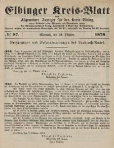 Kreis-Blatt des Königlich Preußischen Landraths-Amtes zu Elbing, Nr. 87 Mittwoch 30 Oktober 1878