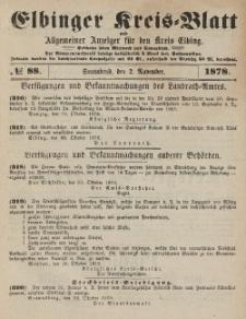Kreis-Blatt des Königlich Preußischen Landraths-Amtes zu Elbing, Nr. 88 Sonnabend 2 November 1878