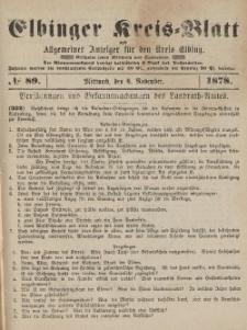 Kreis-Blatt des Königlich Preußischen Landraths-Amtes zu Elbing, Nr. 89 Mittwoch 6 November 1878