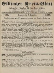 Kreis-Blatt des Königlich Preußischen Landraths-Amtes zu Elbing, Nr. 90 Sonnabend 9 November 1878