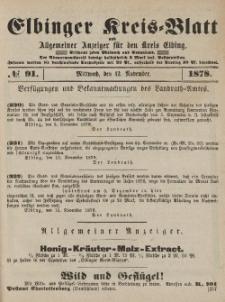Kreis-Blatt des Königlich Preußischen Landraths-Amtes zu Elbing, Nr. 91 Mittwoch 13 November 1878