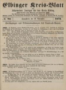 Kreis-Blatt des Königlich Preußischen Landraths-Amtes zu Elbing, Nr. 92 Sonnabend 16 November 1878