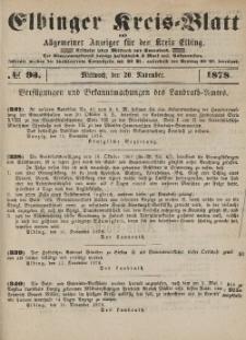 Kreis-Blatt des Königlich Preußischen Landraths-Amtes zu Elbing, Nr. 93 Mittwoch 20 November 1878