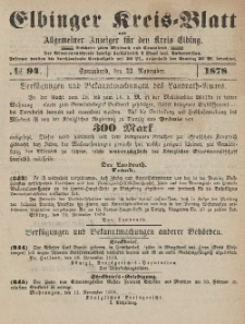 Kreis-Blatt des Königlich Preußischen Landraths-Amtes zu Elbing, Nr. 94 Sonnabend 23 November 1878