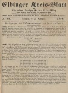 Kreis-Blatt des Königlich Preußischen Landraths-Amtes zu Elbing, Nr. 95 Mittwoch 27 November 1878