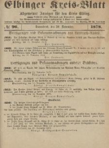 Kreis-Blatt des Königlich Preußischen Landraths-Amtes zu Elbing, Nr. 96 Sonnabend 30 November 1878