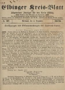 Kreis-Blatt des Königlich Preußischen Landraths-Amtes zu Elbing, Nr. 97 Mittwoch 4 Dezember 1878