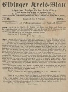Kreis-Blatt des Königlich Preußischen Landraths-Amtes zu Elbing, Nr. 98 Sonnabend 7 Dezember 1878