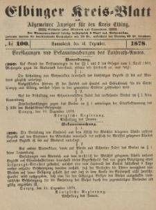 Kreis-Blatt des Königlich Preußischen Landraths-Amtes zu Elbing, Nr. 100 Sonnabend 14 Dezember 1878
