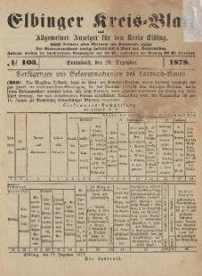 Kreis-Blatt des Königlich Preußischen Landraths-Amtes zu Elbing, Nr. 103 Sonnabend 28 Dezember 1878