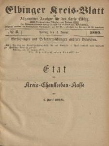 Kreis-Blatt des Königlich Preußischen Landraths-Amtes zu Elbing, Nr. 5 Freitag 16 Januar 1880