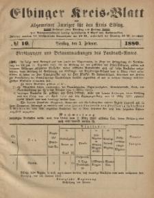 Kreis-Blatt des Königlich Preußischen Landraths-Amtes zu Elbing, Nr. 10 Dienstag 3 Februar 1880