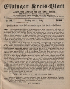 Kreis-Blatt des Königlich Preußischen Landraths-Amtes zu Elbing, Nr. 24 Dienstag 23 März 1880